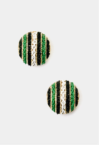 chain detail earring, stud. green white and black