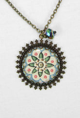antique brass necklace with antique pendant handcrafted