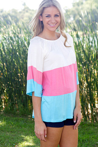 cute trendy juniors spring summer top shirts affordable online fashion boutique for women color block shirt pastel stripes shirt off the shoulder shirt
