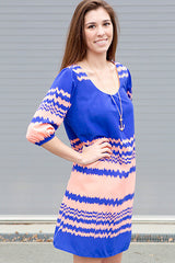 chevron print relaxed fit shift dress spring dress blue peach juniors women's trendy online affordable cute trendy juniors dress