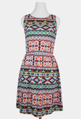 tribal print dress aztec print dress southwestern print dress skater dress trendy cute juniors clothes online women's clothes spring dress summer dress