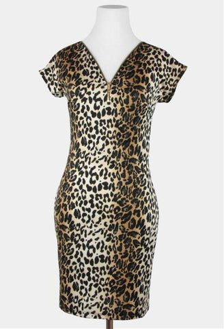 sexy bodycon leopard print dress with zipper accent women's juniors party dress