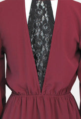burgundy dress with black lace juniors women's