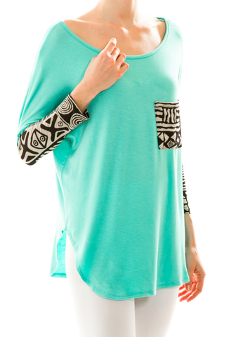 cute juniors top teal with tribal print dolman sleeves trendy juniors top online store boutique affordable juniors shirts