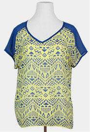 trendy tribal print shirt aztec print shirt top blue and yellow top juniors clothes women's clothes plus size trendy online clothes affordable