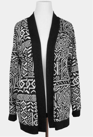 Open tribal cardigan long sleeve cardigan with tribal knitting