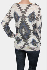 soft tribal print sweater in beige blue and grey