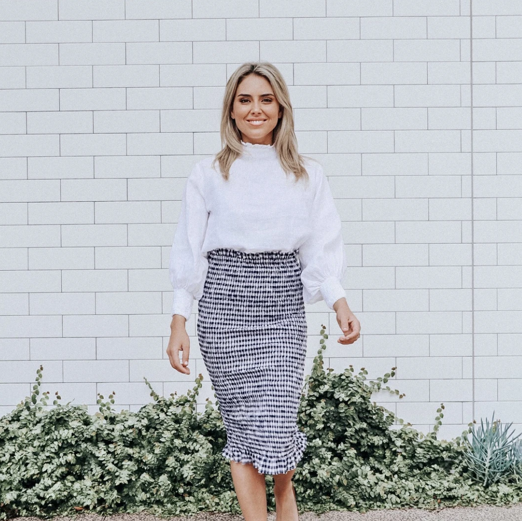 Bonnie Skirt in Navy/White Gingham