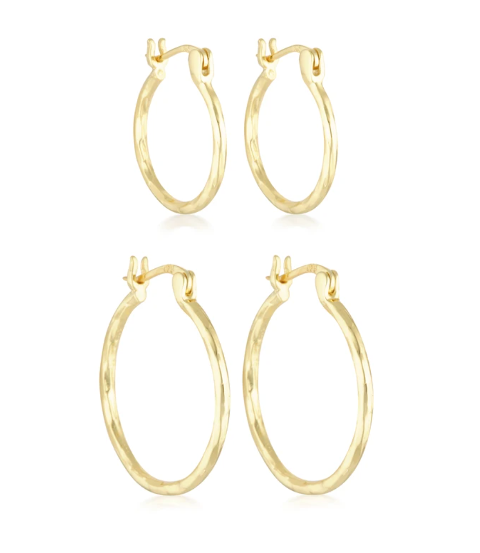 The Silver Collective Heidi Hoop Set in Silver, Gold & Rose Gold