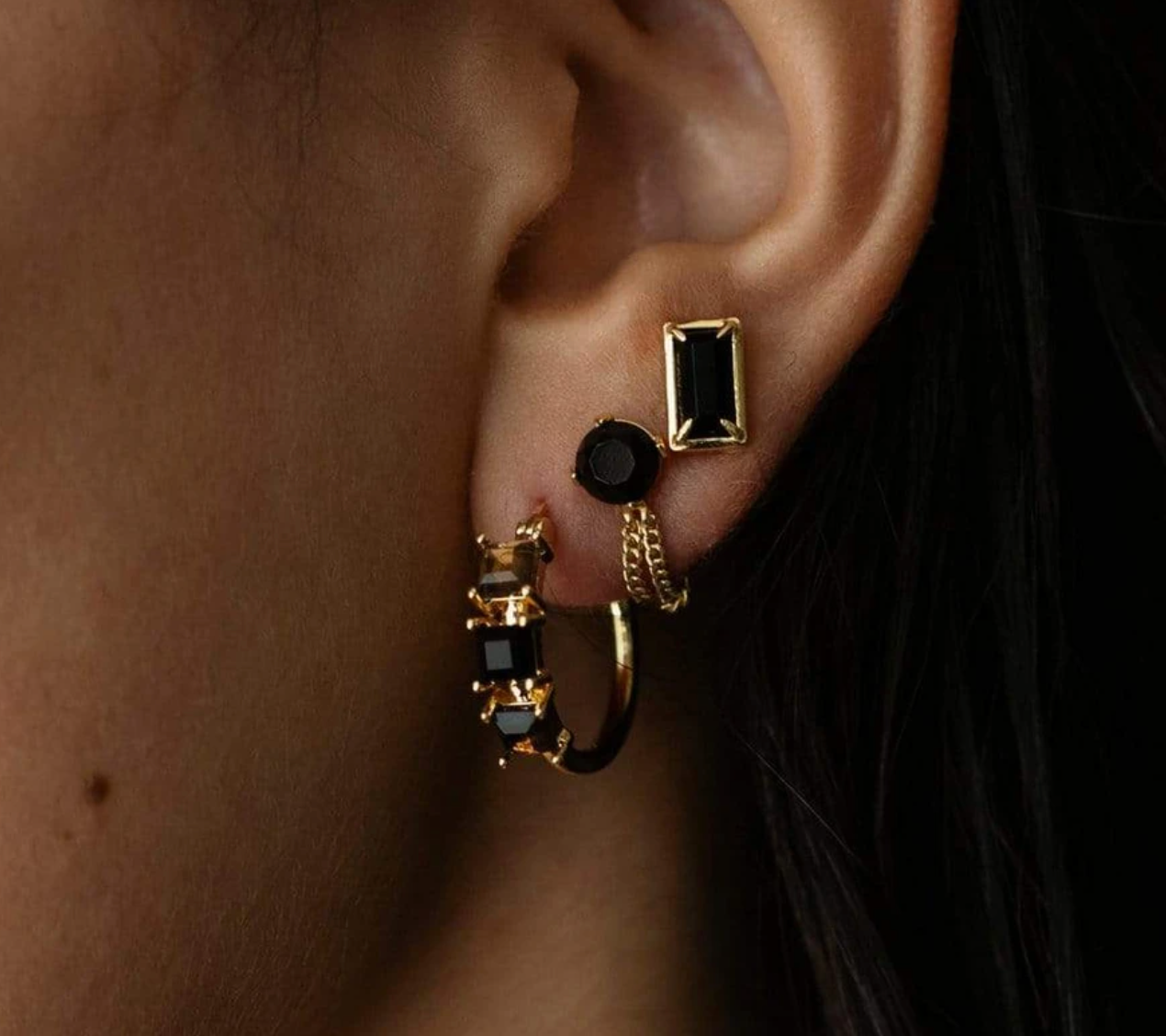 Diana Gemstone Earrings in Black Onyx