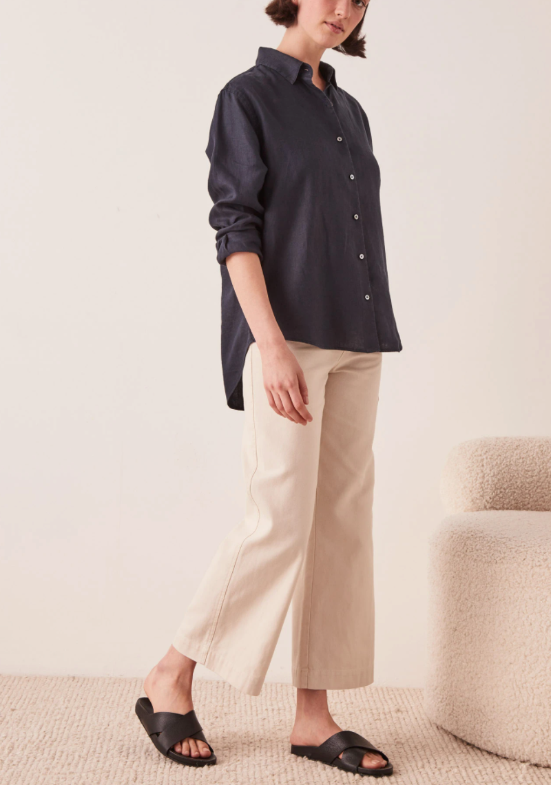 Assembly Xander Linen Shirt in True Navy