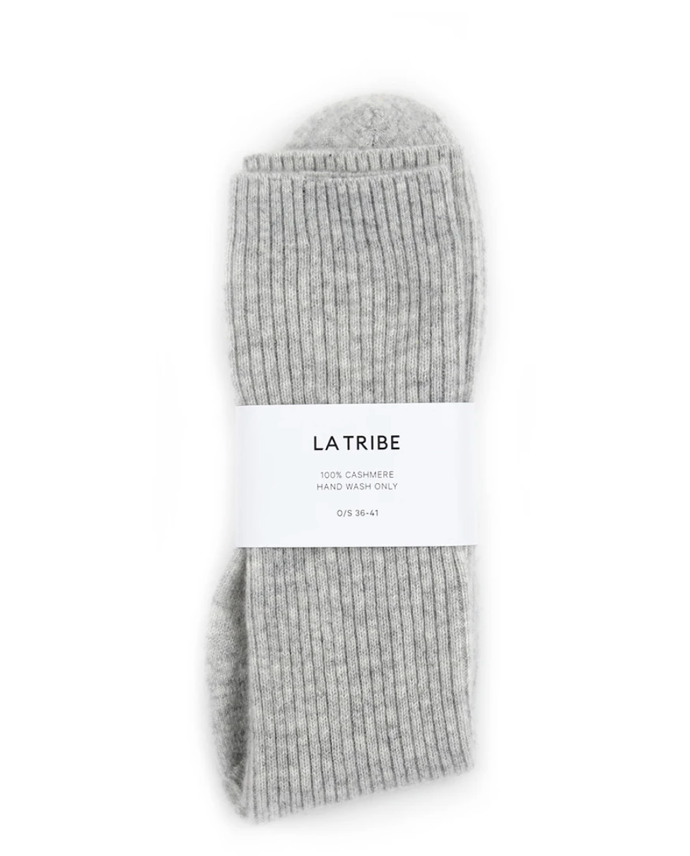LA TRIBE Cashmere Bed Sock in Grey Marle, Ivory + Charcoal