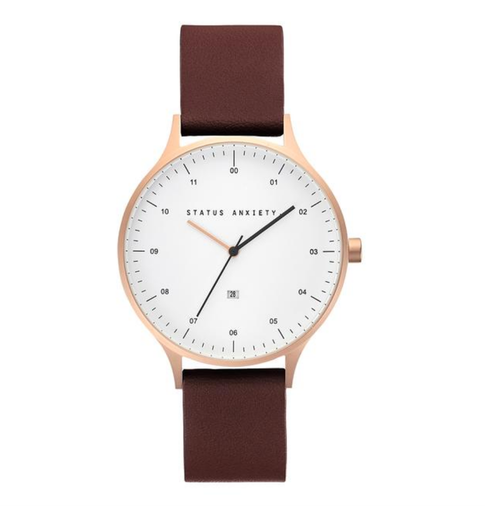 Status Anxiety Inertia Watch- Tan with brushed copper