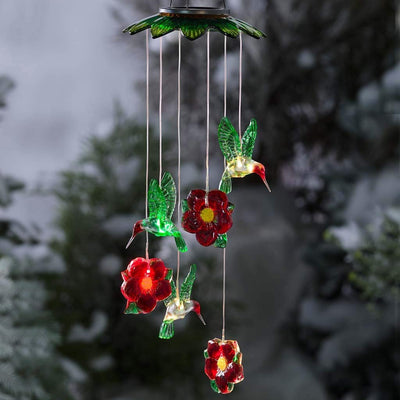 Color Changing Solar Mobile with Hummingbirds and Flowers Solar Wind Chime