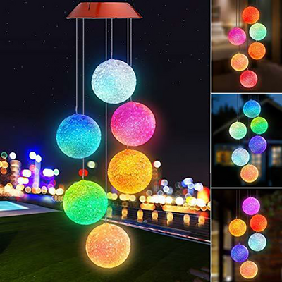 Color Changing Solar Power Wind Chime Crystal Ball Solar Hanging Light