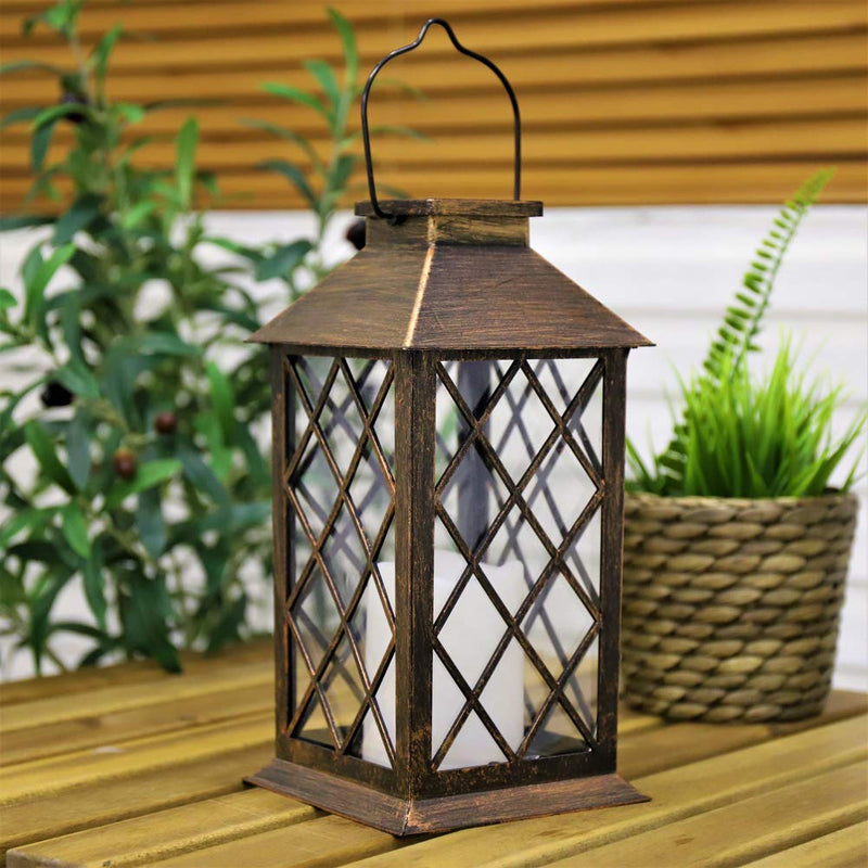 Waterproof LED Flickering Flameless Candle Outdoor Garden Hanging Lantern