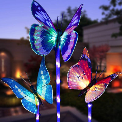 3 Pack Butterfly Solar Stake Lights Color Changing with Purple LED Light Stake