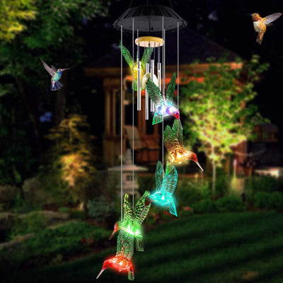 Color-Changing Solar Hummingbird Wind Chimes-Upgraded version