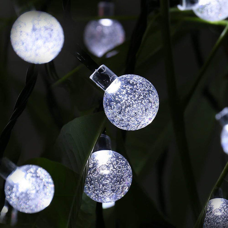 30/50/100/200 LED Cold White Solar Powered Bubble String Light for Indoor/Outdoor