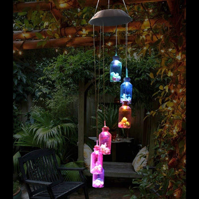 Amazing Wishing Bottle Lucky Star Solar Wind Chime Color Changing Solar Hanging Lights