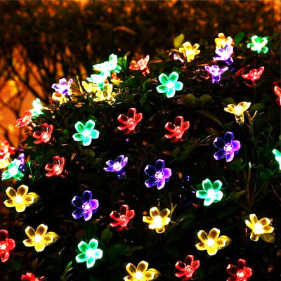 Flower Shaped Solar String Lights Outdoor Waterproof 23ft 50LED Fairy Solar Hanging Christmas Lights