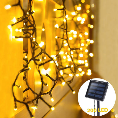 72ft 200 LED Solar Powered String Lights Christmas Outdoor Decor 8 Mode Fairy Lights