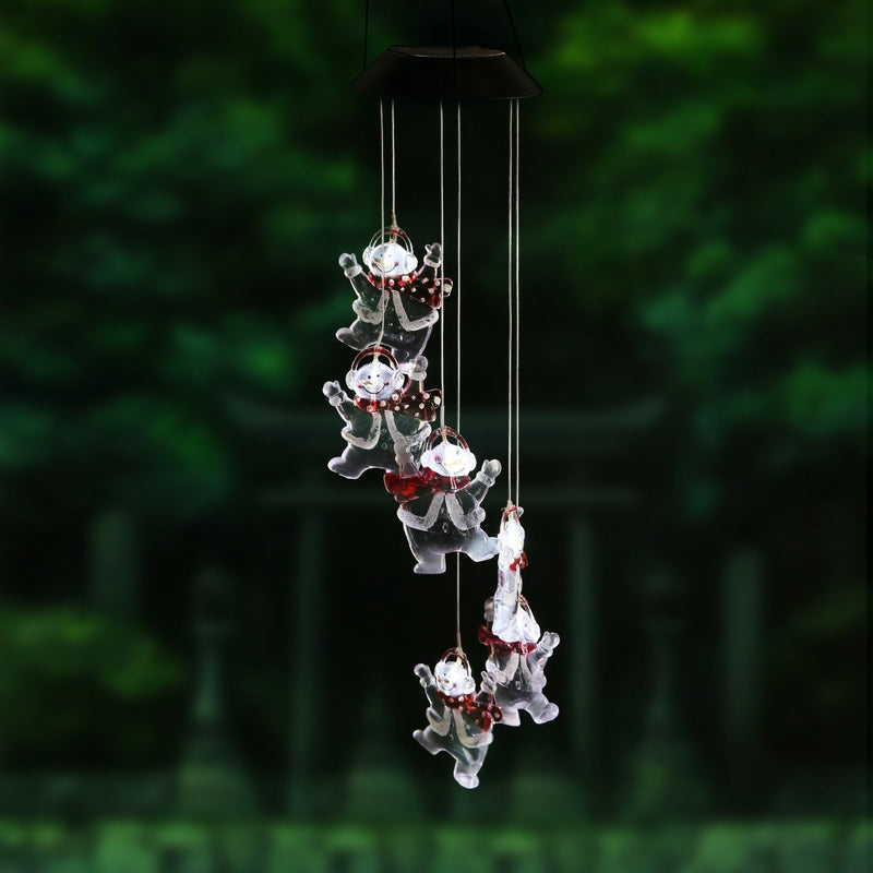 Solar Powered Snowman Outdoor Waterproof Color Changing Wind Chime