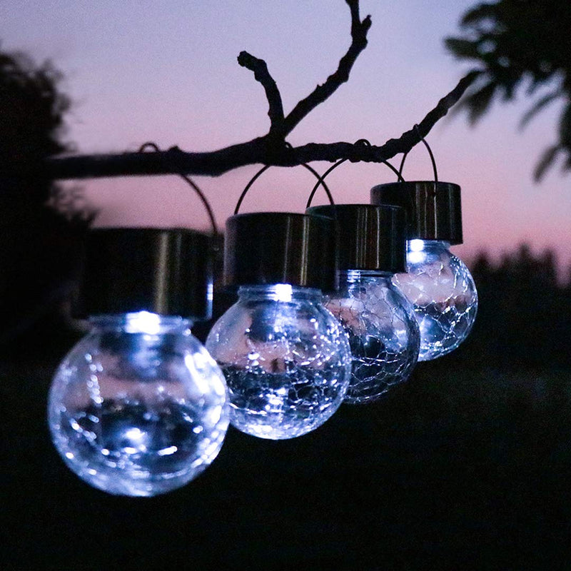 4/8 Pack Auto Color Changing Cracked Glass Decorative Garden Lights Hanging Solar Lanterns