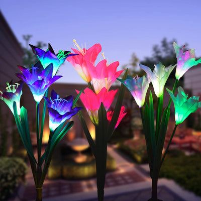 Outdoor Solar Garden Stake Lights 2 Pack Of 8 Lily Flower Color-changing Solar Powered Lights