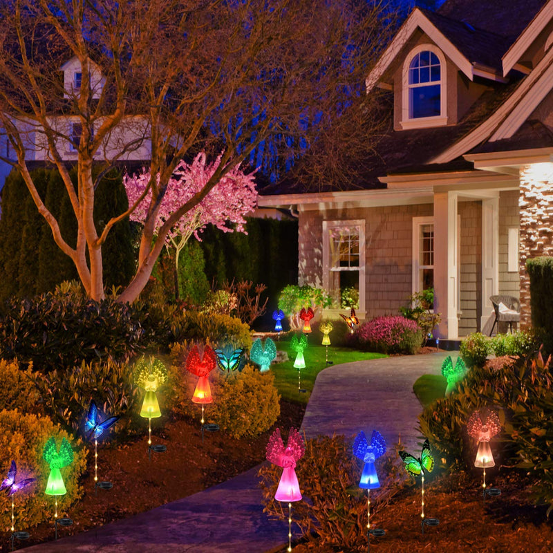2 Pack Fiber Optic Angel Decorative Lights Multi-Color Changing Solar Stake Lights