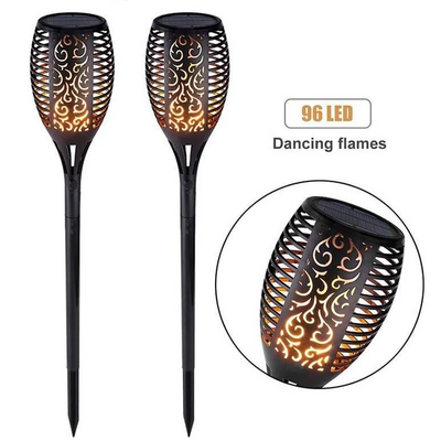 2PCs Solar Torch Lights Outdoor, 43 inch 96 LED with Vivid Dancing Flickering Flames
