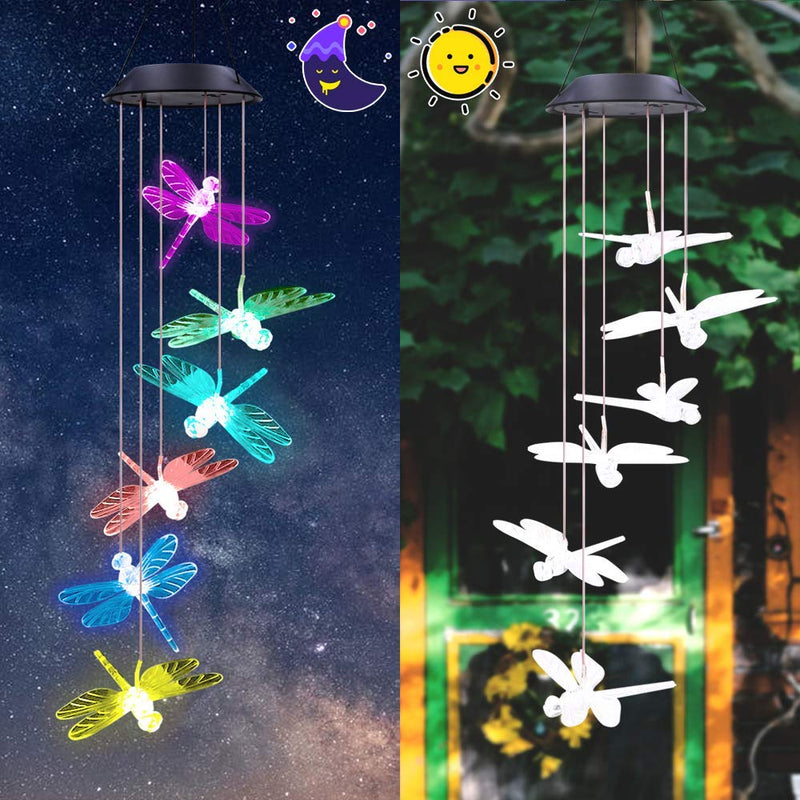 Color Changing Dragonfly Wind Chimes LED Mobile Solar Hanging Light