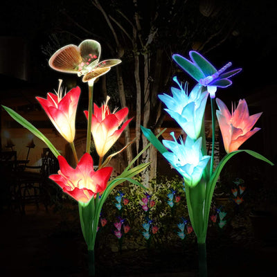 Color Changing Solar Garden Stakes With 6 Lily Flowers,1 Butterfly & 1 Dragonfly