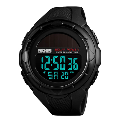Digital Multifunction Watch Big Dial Light Solar Powered Sports Watch Rubber Strap with Alarm & Date