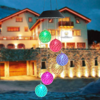 Mobile Waterproof Color Changing Wind Chimes Spiral Spinner Decorative Solar Wind Chime
