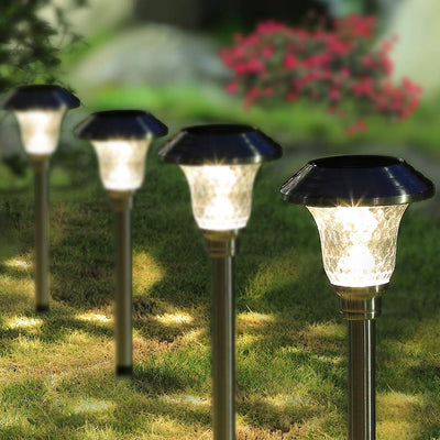 Outdoor Garden Solar Pathway Lights Stainless Steel Bright White Solar Powered Landscape Lighting
