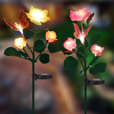 Outdoor Solar Garden Stake Lights with 6 Rose Flowers & 2 Butterfly