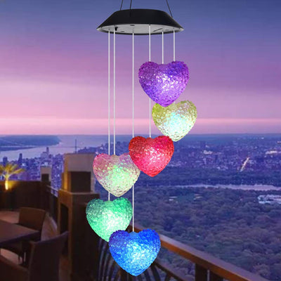 Pink Heart Color Changing LED Solar Wind Chime