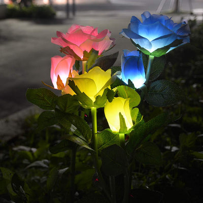 6 Rose Flowers(2/Pack) Solar Garden Stake Outdoor Solar Lawn Lights