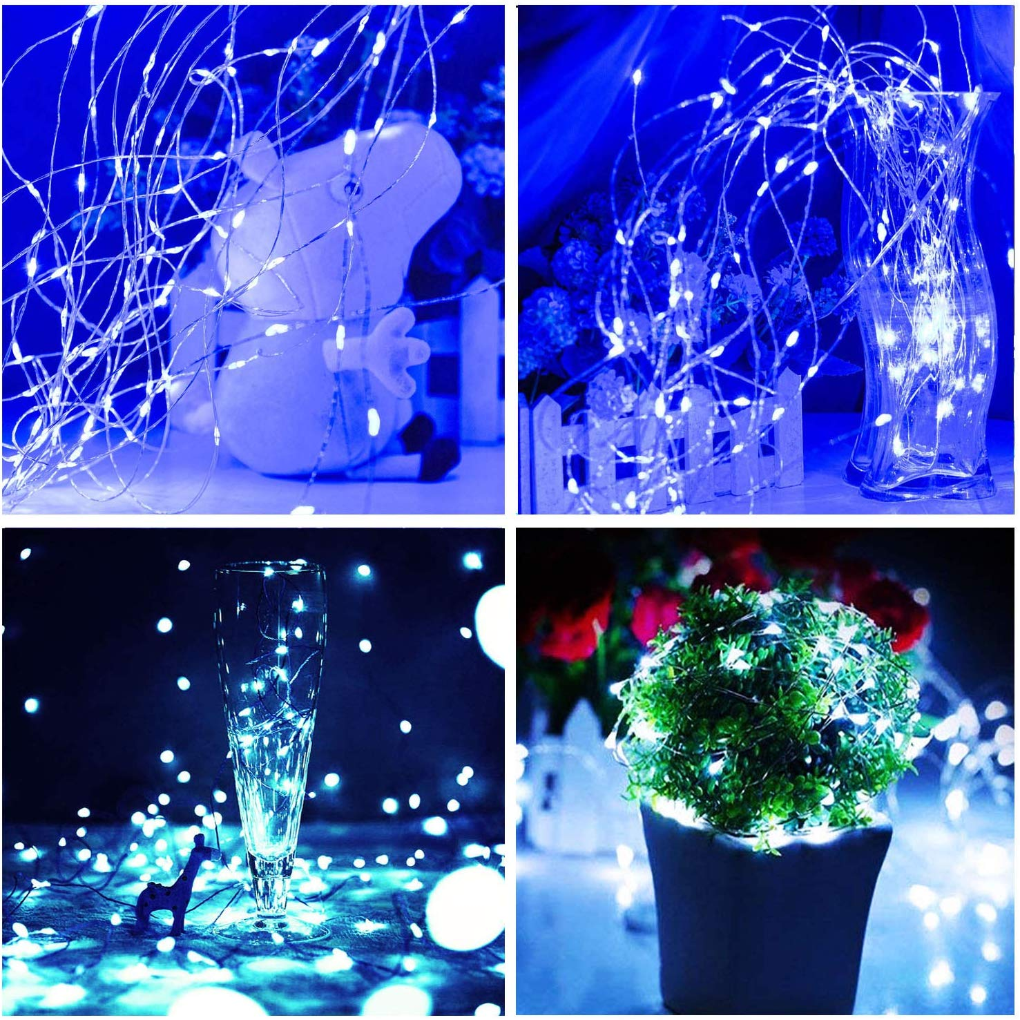 Tree 39ft 100 LED// 2 Modes Waterproof Fairy Lights String for Christmas Outdoor Solar String lights Party Porch Home Warm White Yard Garden Holiday Decoration
