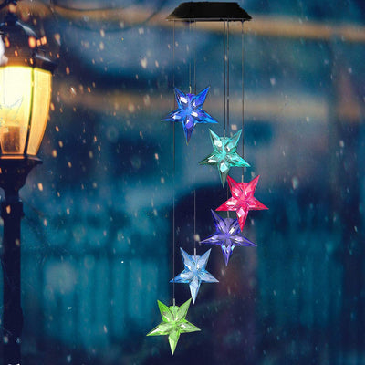 Solar LED Wind Chime Color Changing Star Solar Hanging Light
