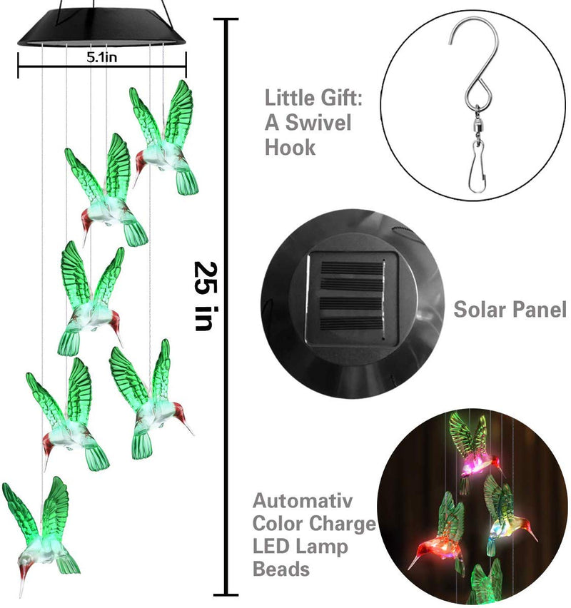 Color-Changing Solar LED Waterproof Hummingbird Wind Chimes(Buy 2 Free Shipping)