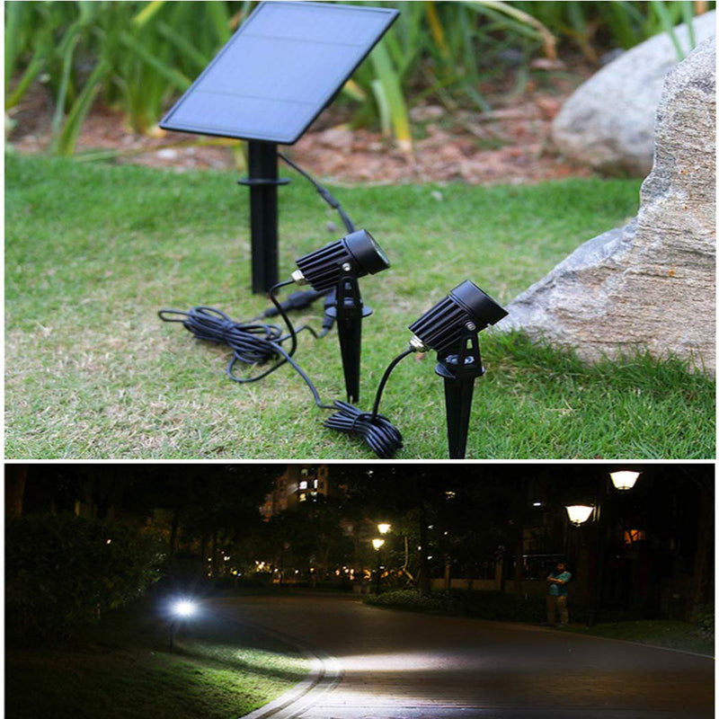 Cold White Solar Powered 2-in-1 Wall Lights LED Solar Landscape Spotlights