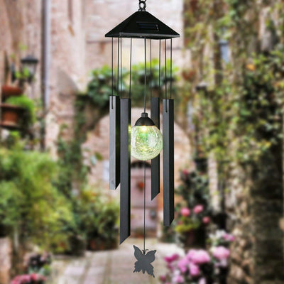 Solar Powered Color Changing LED Glass Ball Solar Wind Chime
