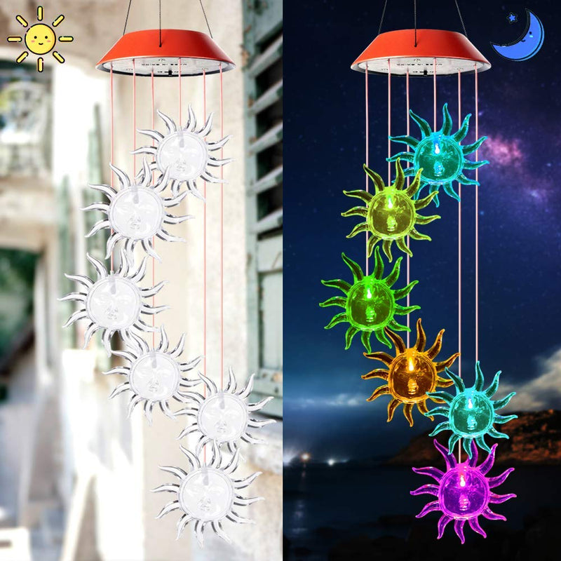 Sunflowers Solar Powered Wind Chime Color-Changing Hanging Lights