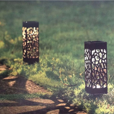 Warm White Hollowed Solar Powered LED Garden Stake Lights (4/Pack)