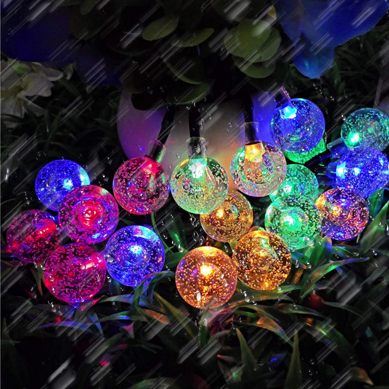 Multi-Colored Waterproof Crystal Ball Solar String Lights Outdoor Garden Fairy String Lights