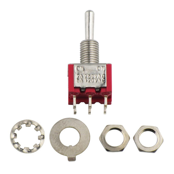 FLEOR Mini Toggle Switch DPDT 2 Way ON/ON Guitar Switch Red - iknmusic