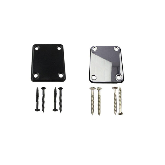FLEOR Guitar Neck Plate Guitar Neck Strength Connecting Board Joint Plate for Electric Guitar, Black/Chrome