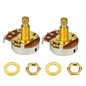 FLEOR Long Split Shaft Full Size Guitar Potentiometers Golden-A500K A250K /B250K /A500K /B500K Available - iknmusic